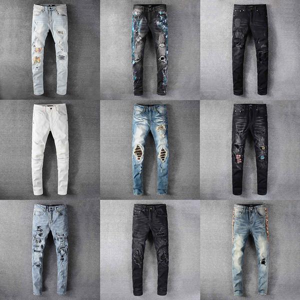best selling 2020 Top High Quality Designer Mens Amirl Jeans Luxury Denim Men Fashion StreetWear Biker Hole Ripped Tie Dye Man Popular Hip Hop Jean Pants
