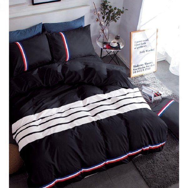 new fashion luxury home textile bedding set Solid color bed linens bed clothes duvet cover bed sheet pillow case queen size