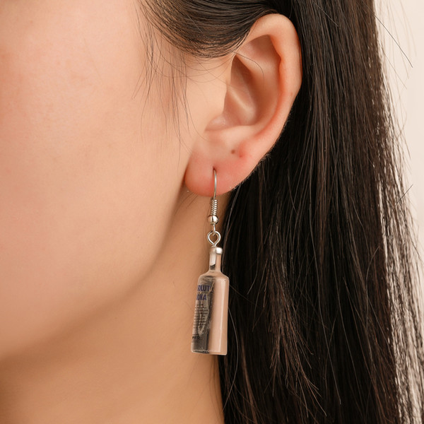 best selling New earrings fun vodka beer bottle mineral water bottle earrings creative wild net red hot earrings