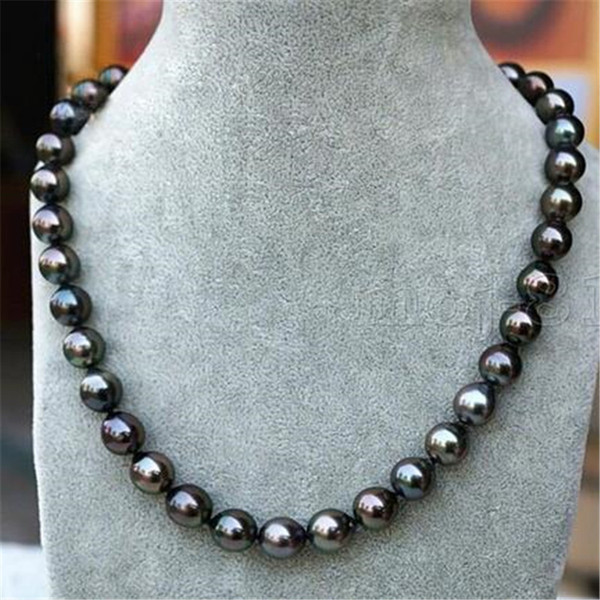 """top popular Fashion Women's Genuine 8-9mm Tahitian Black Natural Pearl Necklace 18"""" 2021"""
