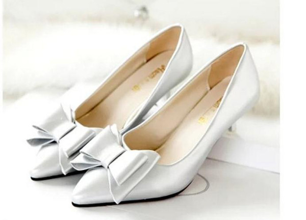 Fashion Quality Low-heeled Pointed Shoes Asakuchi Korean Bow with Comfort In Fine with Scoop Shoes Shoes Work Low-heeled pointed shoes Asakuchi Korean bow with comfort in fine with scoop shoes shoes work shoes leather shoes
