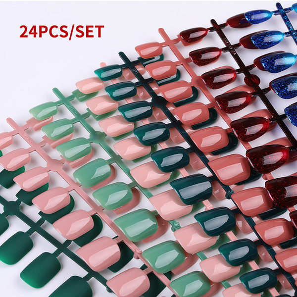 top popular 24pcs Reusable Full Cover Shiny False Nail Artificial Tips for Short Decorated Design Press On Nail Art Fake Extension Tips 2021
