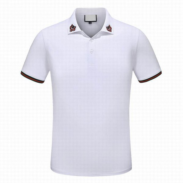 best selling Hot sale Luxury fashion classic men's Tiger striped embroidery shirt cotton mens designer T-shirt white black designer polo shirt male M-3X