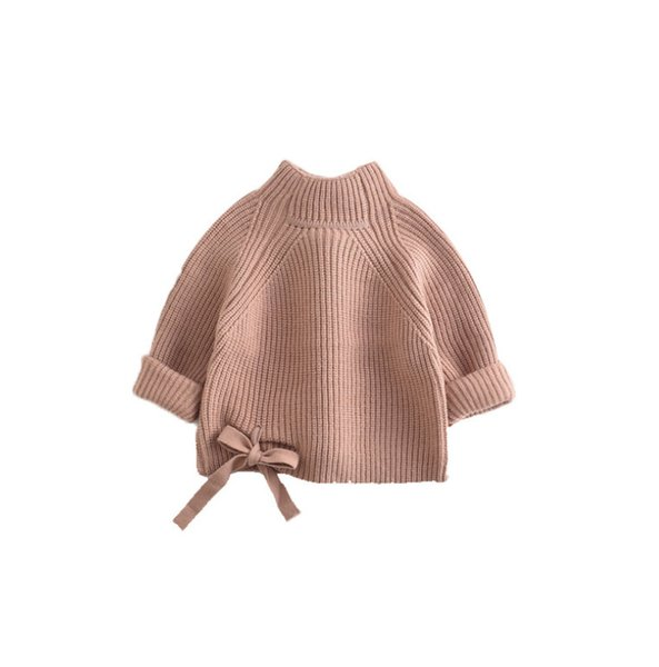 best selling Baby Girls sweater kids lace-up Bow knitted sweater pullover children stand neck long sleeve jumper A4037