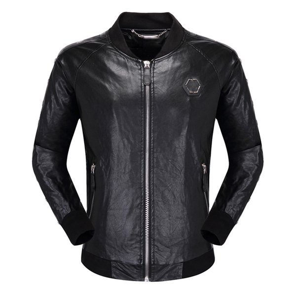 best selling skulls Faux Leather jacket men Zipper Slim Fit Short hip hop Casual designer Motorcycle coat black Biker tiger luxury Fitness clothing M-3XL
