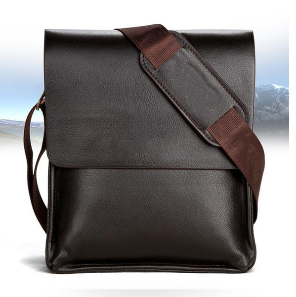 top popular Mens Briefcase Business Bags Casual Business PU Leather Mens Messenger Bag Vintage Men's Crossbody Bag Bolsas Black Brown Shoulder Bags 2020