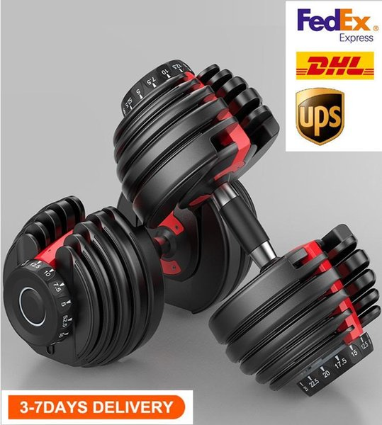 top popular Fast Shipping Weight Adjustable Dumbbell 5-52.5lbs Fitness Workouts Dumbbells tone your strength and build your muscles UPS 2021