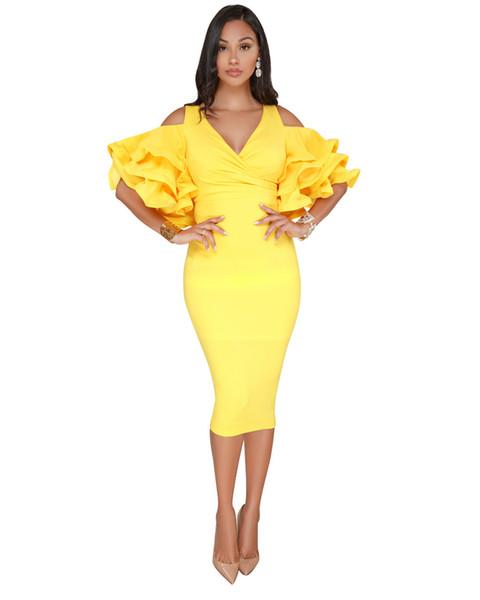best selling best price ruffle sleeve dress unique sexy slit hem dress white pink yellow black blue yellow green blue warp party dresses