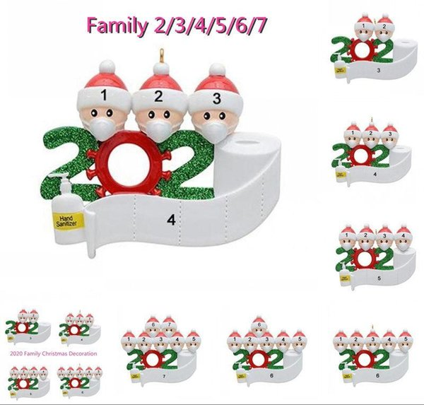 top popular 12 hours Ship Family Christmas Birthdays Decoration Gift Product Personalized Of 4.5.6 Ornament Pandemic Social Distancing 2020 DHL Shipping 2020