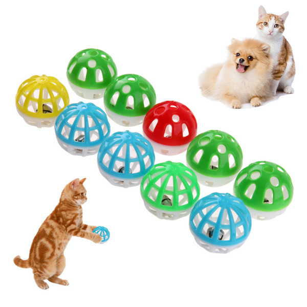top popular Cute Cat Dog Toys Colourful Hollow Ball with Small Bell Wholesale Pet Puppy Playing Toys 2021