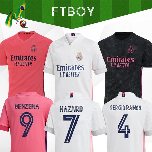 top popular Real madrid Jerseys 2020 HAZARD Isco REINIE soccer jersey SERGIO RAMOS MODRIC F.MENDY football shirt uniforms kit 20 21 camisetas EA sports 2020