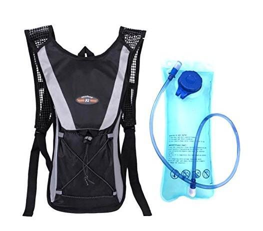 Black backpack + water bag