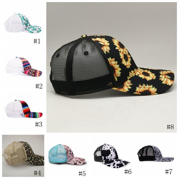top popular 8style Snake Baseball Hat Cow Print Leopard Sunflower Caps Serape Mesh Cap Fashion Striped cactus Hats Outdoor Sunhat GGA3662 2020
