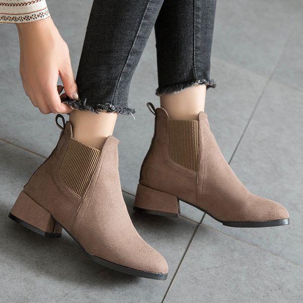 Mid-heel Short Boots Women 2020 New Korean Women's Matte Coarse-heel Boots Wild Plus Cotton Plus Size Women's Boots