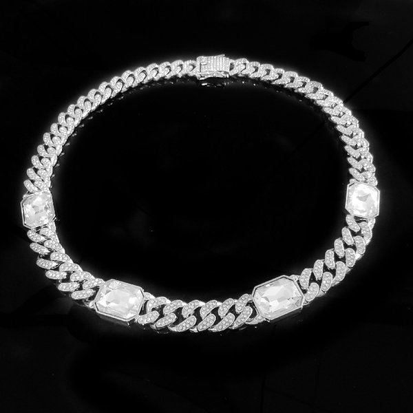 50cm + Silber + White gem