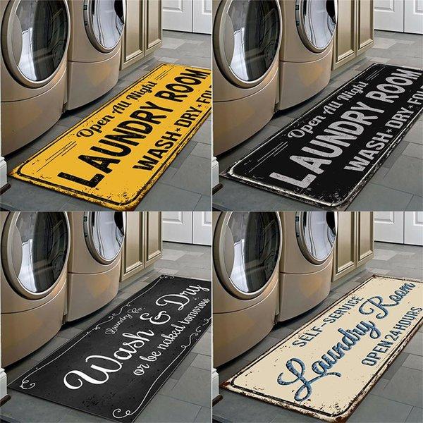 best selling Non-Slip Floor Mat Laundry Room Mat Entrance Doormat Self-Service Laundry Bath Mat Carpet Laundry Room Decor Balcony Rug
