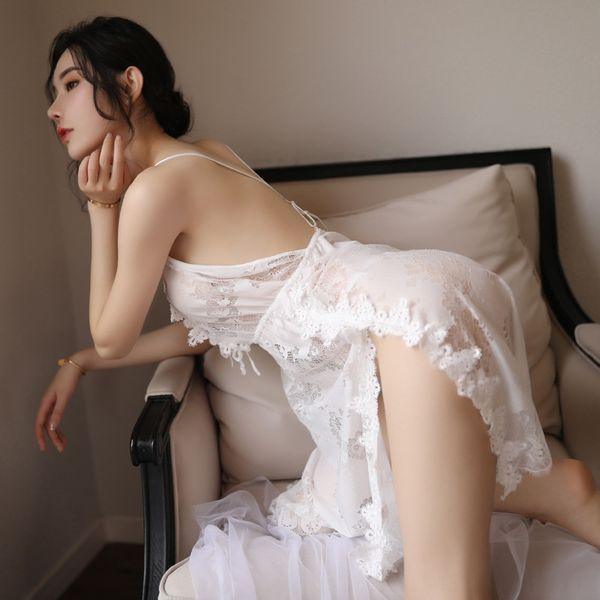 Белый шелковый Nightdress + т Брюки-One Size
