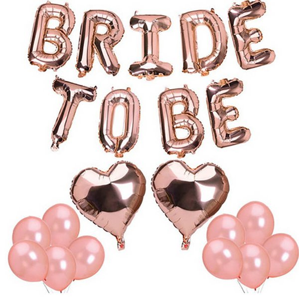 best selling Rose Gold Bride To Be Letter Balloons heart foil Balloon Hen Party Decorations Wedding Bachelorette Birthday Party Supplies