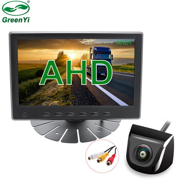 top popular New HD 7 Inch 1024x600 IPS Screen AHD Car CCTV Video Monitor With 1280*720P Fisheye Lens Rear View Reverse Backup AHD Camera 2021