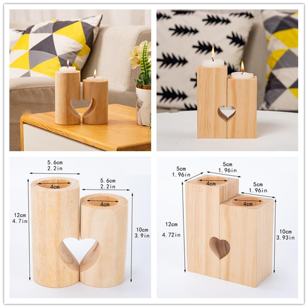 top popular Natural Wood Tea Light Candle Holders Heart-Shaped Romantic Candle Holders Cute Decorative Wedding Decor Home Decor 2021