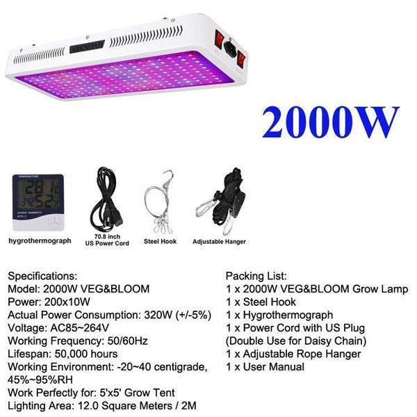 luz del crecimiento 2000w 2 canales