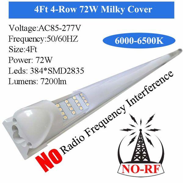 NO-RF 4Ft 4 Row 72W Milch Abdeckung
