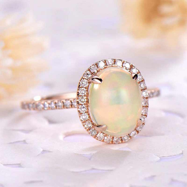 Februaryfrost Brand Fashion Designer Simulated Opal Engagement Ring for Women with Micro Paved Rose Gold Color Oval Opal Stone Rings