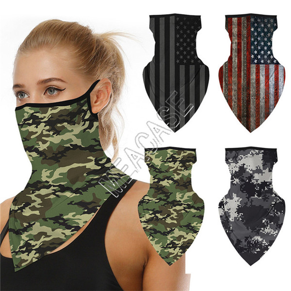top popular 41 Colors Magic Sports Scarf Triangular Bandage Fashion Face Mask Facemasks Biker Cycling Scarves Mouth Cover Camo Starry Totem Print D81807 2021