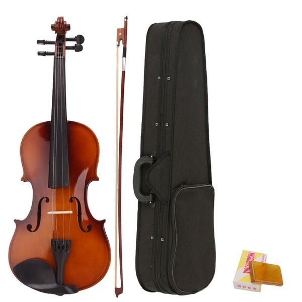 top popular 4 4 Full Size Violin Acoustic with Case Bow Rosin Basswood Instrument for Beginners Natural Color 2021