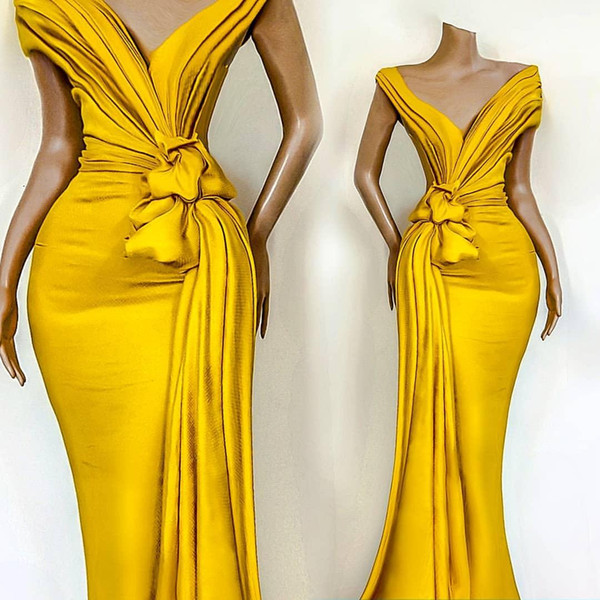 best selling 2021 Stunning Yellow Prom Evening Dresses Mermaid V-neck Formal Party Cheap Celebrity Gowns For Women Occasion Wear