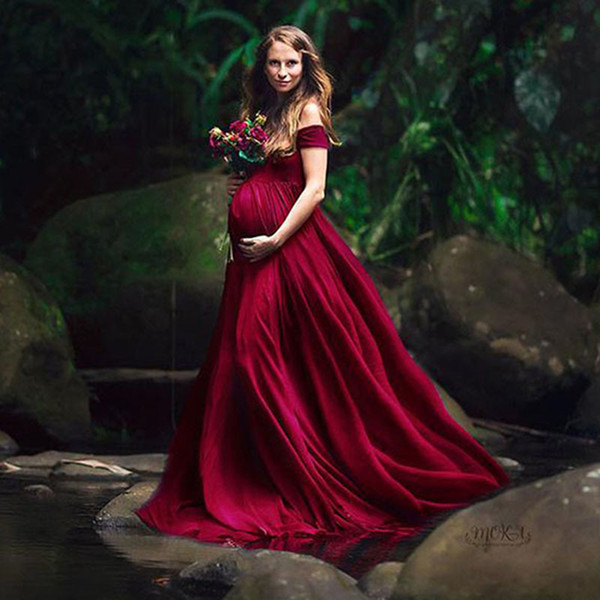 best selling Elegant Maternity Dresses for Photo Shoot Sexy V Neck Off Shoulder Pregnancy Photography Dress Pregnant Women Party Maxi Dress