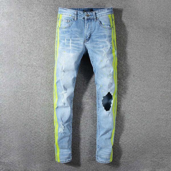 best selling Mens Jeans Classic Hip Hop Pants Stylist Jeans Distressed Ripped Biker Jean Slim Fit Motorcycle Denim Jeans ZKI0