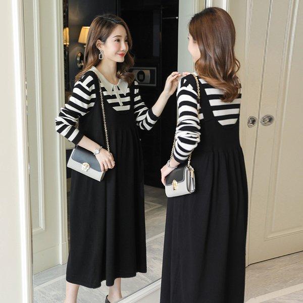 White Stripes + Suspender Skirt nero