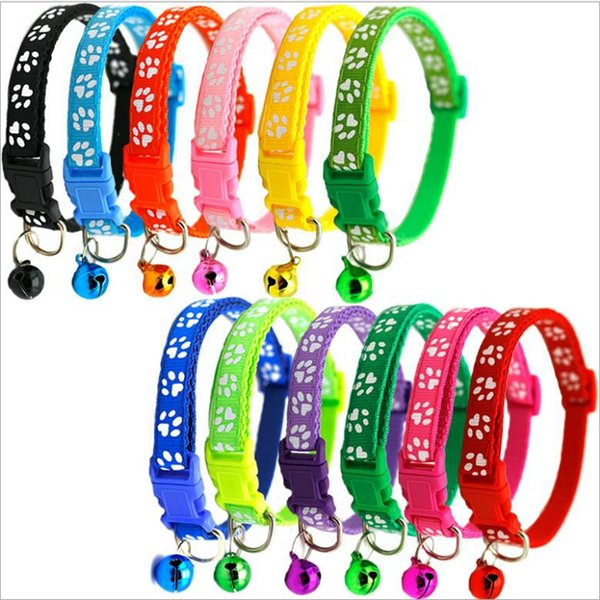top popular 12styles Dog Puppy Cat Collar Breakaway Adjustable Cats Collars with Bell Bling Paw Charms pet decoration supplies YYA384 2020