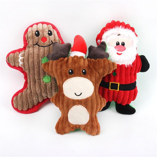 best selling Dog Chew Toys Puppy Cute Cartoon Sound Toy Pets Christmas Molar Plush Doll Puppy Santa Snowman Gifts