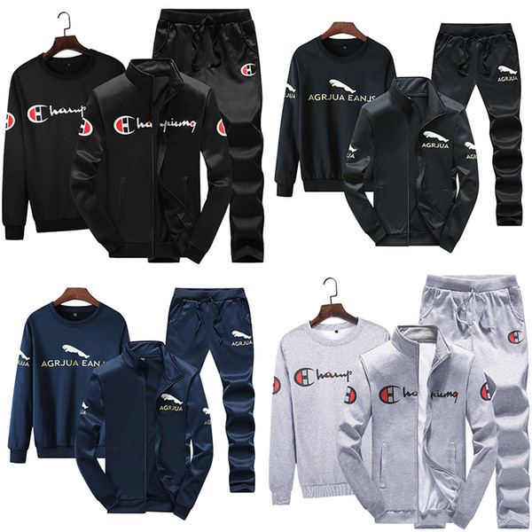top popular Champions Mens Fleece Fall Clothing Jackets + Hoodies + Pants 3 Piece Set Outfits Warm Thick Tracksuit Jogger Suit Winter Plus Size M-4XL 2020