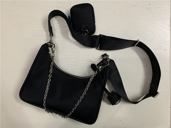 best selling 2020 fashion women designer Sale 3 piece set bags women crossbody bag Genuine Nylon handbags purses lady tote bags Coin Purse three item
