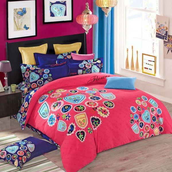 Brushed Cotton bohemian bedding sets 4pcs queen king duvet cover set bedlinen bedclothes beautiful bedding girl