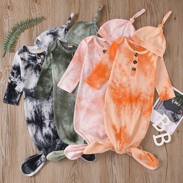 top popular Newborn Baby Swaddle Blanket hat 2 pcs Wrap INS Toddler Cartoon Sleeping Sacks Photography Prop Tie Dye Infant Sleeping Bag M2635 2021
