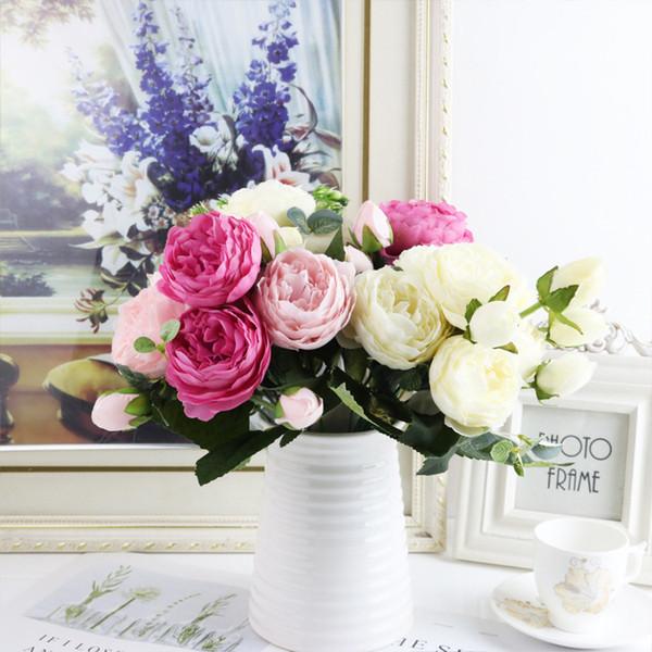 1 bundle Silk Peony bouquet home decoration accessories wedding Party scrapbook fake plants pompons artificial roses flowers