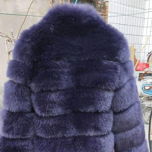 cappotto di pelliccia navy