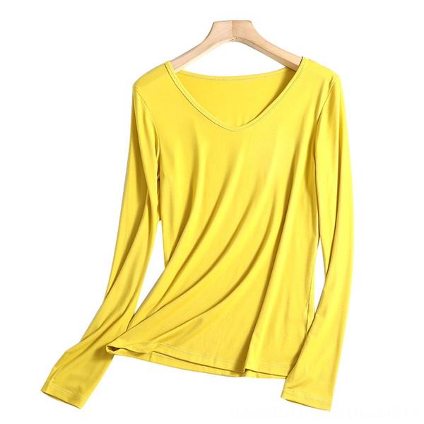 V-pescoço Olive amarelo