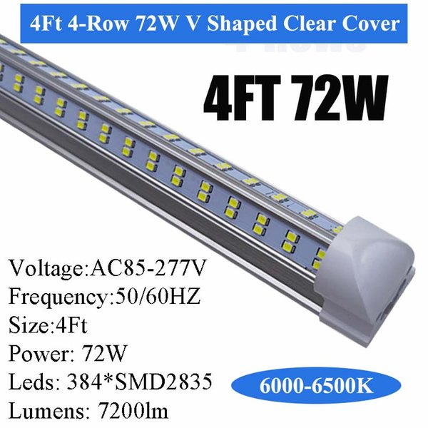 4Ft 4 Row 72W V-förmige Löschen Cover