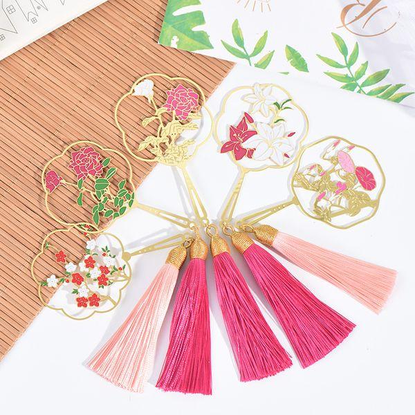 top popular Retro flower Fan Metal Bookmark Chinese style tassels Pendant Book mark for children student gift School Office Supplies 2021