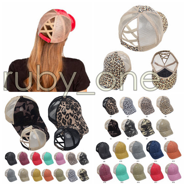 top popular Ponytail Baseball Caps Washed Messy Buns Hats Leopard Camo Criss Cross Pony Cap Outdoor Visor Snapbacks Caps Party Hats Supply RRA3519 2021