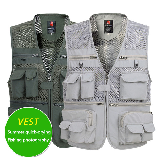 top popular Summer Men's Thin Mesh Vest Men's Quick-drying Casual Multi-pocket Photography Fishing Vest Waistcoat Widening and Increasing 2021