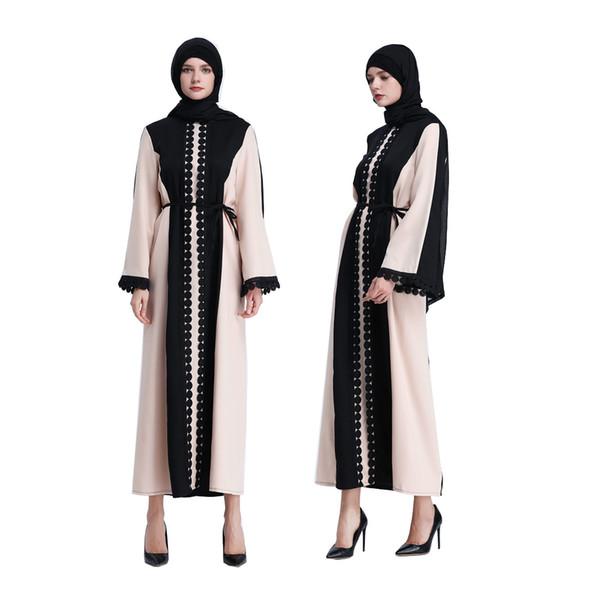best selling women's Muslim dresses fashion long sleeve dresses color-blocking Beige black Casual Dresses Ethnic Clothing