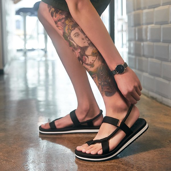 7204 Drawstring Sandals Black And White