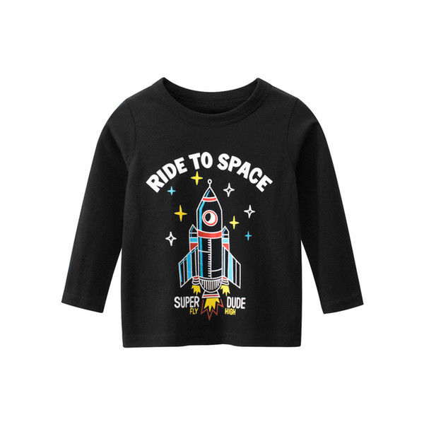 best selling Spring Boys Girls Round Neck T-shirts Autumn Childrens Long-Sleeved Clothes Black Yellow Grey Green Red Kids Tops