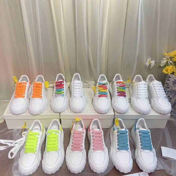 best selling Newest Velvet White Leather Shoes Women Mens Genuine Suede Platform Flat Casual Shoe Lace Up Platform Chaussures White Sneakers With Box
